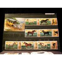 Камбоджа 1989. Кони. Полная серия из 7 марок и 1 Блок.