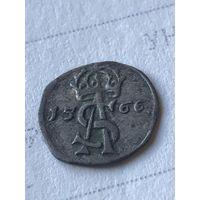Двойной денарий 1566