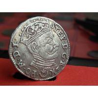 3 грош 1581 года. Не частая. Сохран. Без МЦ с рубля. Оригинал.