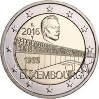 2 евро 2016 г. Люксембург 50 лет мосту герцогини Шарлотты.UNC из ролла