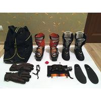 ГОРНОЛЫЖНОЕ СНАРЯЖЕНИЕ (горнолыжные ботинки ATOMIC B-Tech 80 Ski Boots и ключ + чехол FISCHER + горнолыжные очки-маска UVEX Pocket Pro Clima-zone Black + горнолыжные перчатки BURTON size L)