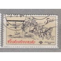 Лошади Всадники Транспорт повозки фауна Чехословакия 1981 год  лот 4