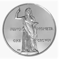 "Остров Мэн 1 крона 2012г. ""Юнона Монета"". Монета в капсуле; подарочном футляре; сертификат; коробка. СЕРЕБРО 28,28гр."