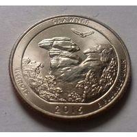 """25 центов, квотер США, нац. парк """"Лес Шони"""" (штат Иллинойс), P D"""