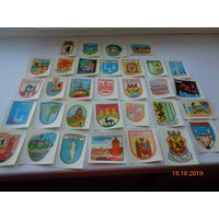 Наклейки ГДР гербы 32 штуки без повторов