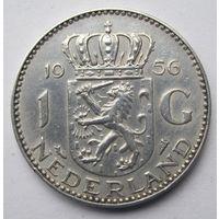 Нидерланды 1 гульден 1956 - серебро 6,5 гр. 0,720