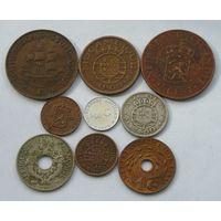 Красивый лот Колоний с Серебром, 9 разных монет, 7 Колоний