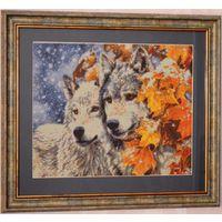 """Вышитая картина в алмазной технике """"Волки"""". Размер 75 см х 85 см."""