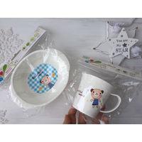 Набор чашка и миска посуда для малышей прикорм 0+