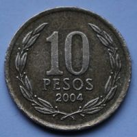 Чили, 10 песо 2004 г.