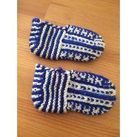 Тапочки вязанные на ножку 11-12 см. Новые, красивого синего цвета.