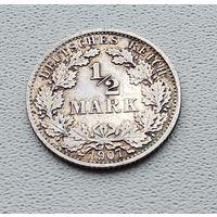 "Германия 1/2 марки, 1907 ""A"" - Берлин 7-10-21"