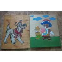 Две детские картинки на фанере.