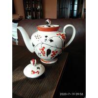Заварочный фарфоровый чайник рисунок СССР ЛФЗ.