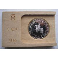 Испания, 5 экю, 1990, серебро