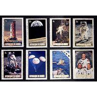 Гвинея 1979 г. Космос. 10-ти летие высадки на Луну, полная серия из 8 марок #0160-K1P13
