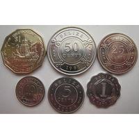Белиз 1 доллар 2007, 50 центов 1991, 25 центов 2007, 10 центов 2000, 5 центов 2009, 1 цент 2010 гг. Цена за комплект (g)