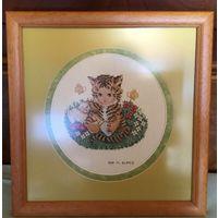 Картина -вышивка Тигрёнок Petit Point Испания винтаж