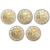 2 евро 2013 Германия 5 дворов Федеральные земли Германии - Монастырь Маульбронн, Баден-Вюртемберг UNC из ролла