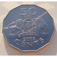 """Эсватини """"Свазиленд""""  50 центов 2005 год KM#52  """"Король Мсвати III"""""""
