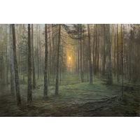 """Картина """"Вечер в лесу"""" холст/масло 30X20 см. 2019 г."""