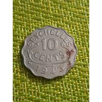 СЕЙШЕЛЫ Сейшельские острова 10 центов 1939 Британская колония ГЕОРГ VI Тираж 36 тыс.