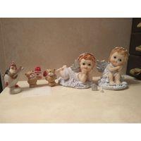 Статуэтки ангелочки, мишки, пигвин лотом