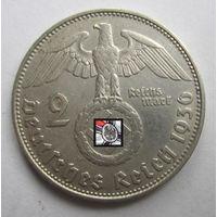 Третий рейх. 2 марки 1936 D   , серебро .9-391