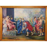 "Картина, ""Библейский сюжет"", холст натянут на двп , масло, худ. Трапезников 1979г.,  87 Х 66 см."