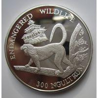 Бутан. 300 нгултрум 1992. Золотая обезьяна - Лангур. Серебро. Пруф .4Е-2