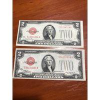 США 2 $ красная печать 1928 (2шт)