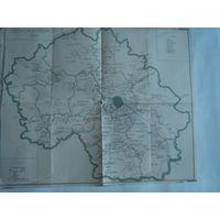 Старинная КАРТА МОСКОВСКОЙ губернии.Начало XX-го века.Размер 44 х 36 см.