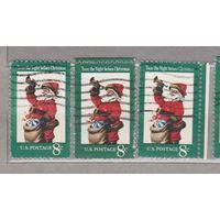 Рождество 3 марки с перфорацией, правой и верхней боковыми полями США 1972 год лот 1063 можно раздельно