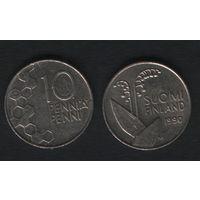Финляндия km65 10 пенни 1990 год (M) (новый тип) CuNi цветы (f39)