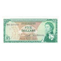 Восточно-Карибские Штаты Доминика 5 долларов образца 1965 года. Состояние UNC! Редкая!