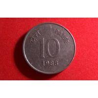 """10 пайс 1988. Индия. Отметка МД - """"C"""" - Оттава."""