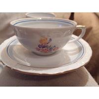 Чашки чайные+блюдце+розетка гдр