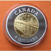 КАНАДА Proof 8 долларов 2005 г СЕРЕБРО ПОЗОЛОТА 120 лет Тихоокеанской Железной Дороге