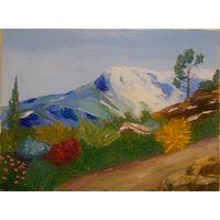 """Картина маслом """"Горная тропа"""" мастихин (400х300х20) холст на подрамнике"""