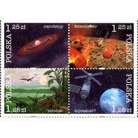 Польша 2004 г. Космос. Космическая история Земли (сцепка 4 марки)*