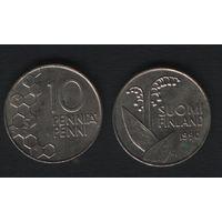 Финляндия km65 10 пенни 1990 год (M) (новый тип) CuNi цветы (f315)