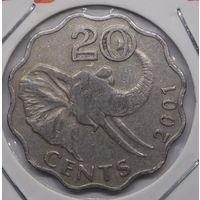 Свазиленд 20 центов 2001 г.