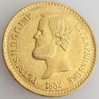 Бразилия, 20 000 рейсов 1852 года, золото 917 пробы/ 17,93 г, Педро II, KM# 463