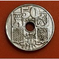 105-01 Испания, 50 сентимо 1949 г. (56 внутри звезды)