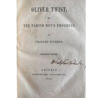 """Диккенс """"Оливер Твист"""", 1843, Лейпциг, англ., прижизненное изд."""