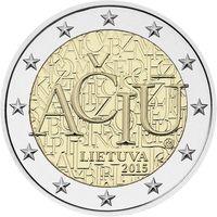 2 евро 2015 Литва Литовский язык UNC из ролла