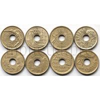 Испания 4 монеты 1990-1997 годов. 25 песет (Пта) юбилейные (VF-XF)