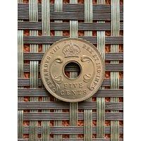 Британская Восточная Африка 5 центов 1936 Н г., редкая