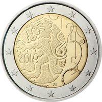 2 евро 2010 Финляндия 150-летие введения в Финляндии собственной валюты UNC из ролла