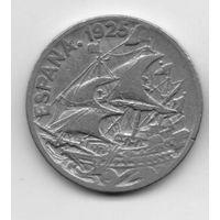 КОРОЛЕВСТВО ИСПАНИЯ. 25 СЕНТИМО 1925. КОРАБЛЬ ПАРУСНИК